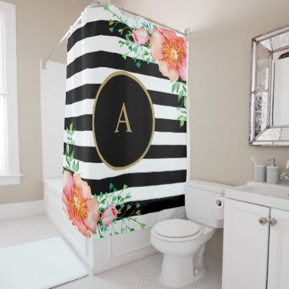 gold and white striped shower curtain. Vintage Floral Gold Monogram Black White Striped Shower Curtain  monogram gifts unique design style monogrammed
