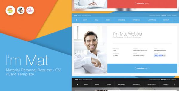 I\'m Mat - Material Personal Resume / CV vCard Template | Bootstrap ...