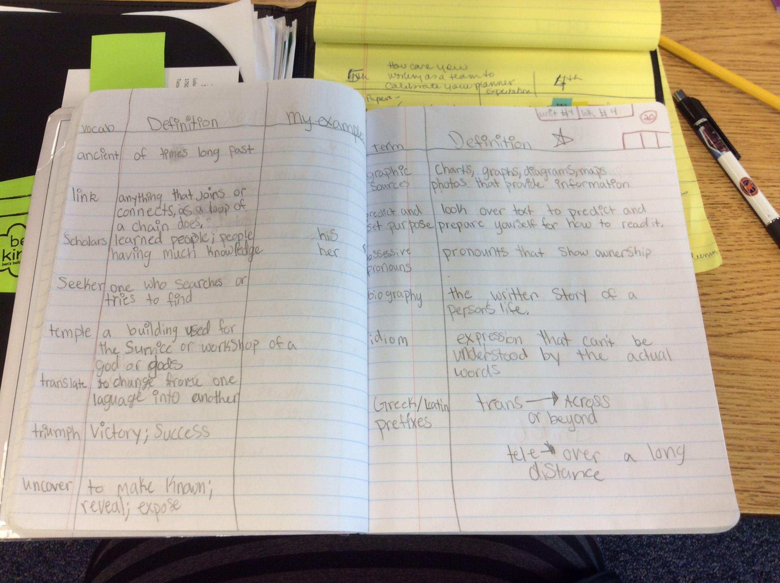 Mores examples of 4th grade two column notes at Walker  | AVID