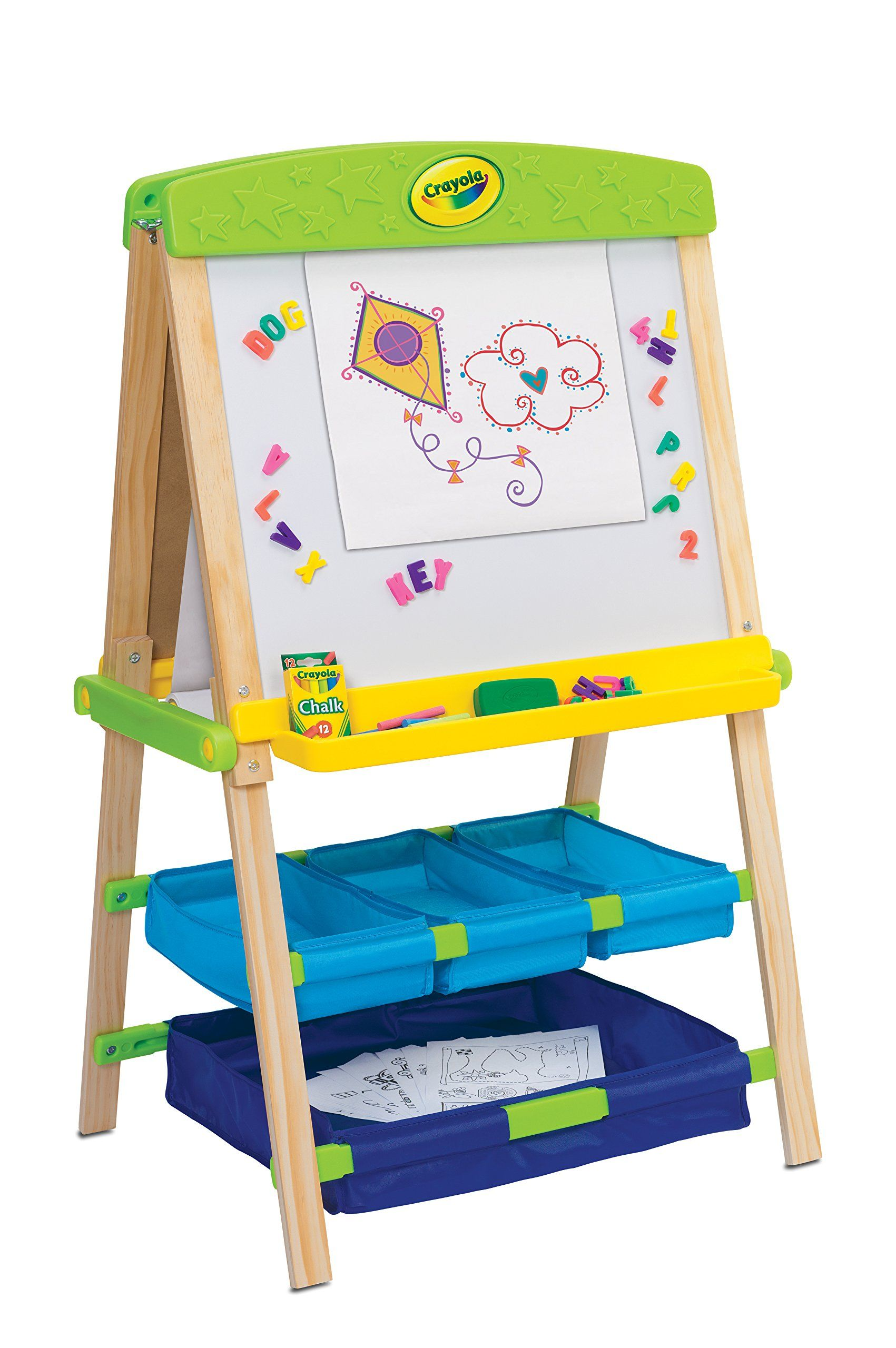 Crayola draw n store wood easel convertible art easel and
