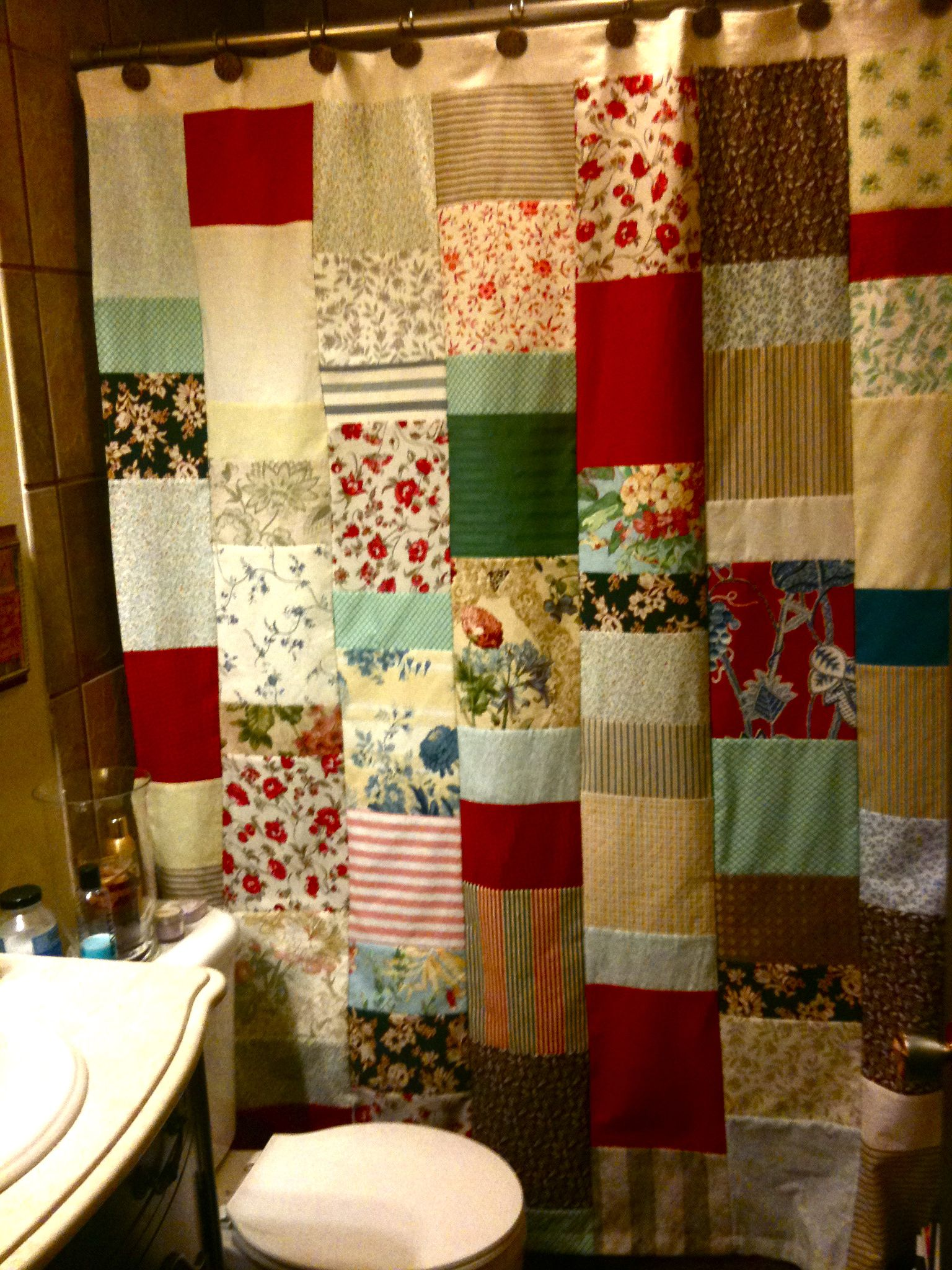The Patchwork Shower Curtain I Sewed For Our Downstairs Bathroom