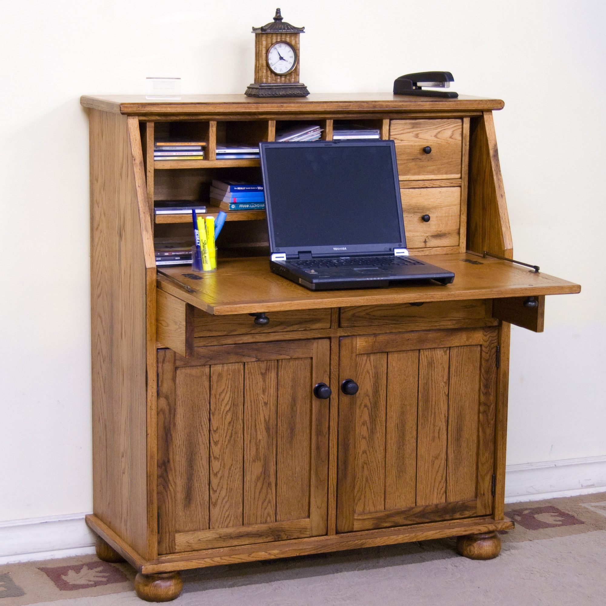 The Sedona Drop Leaf Laptop Desk Features Two Utility Drawers And One File  Drawer, Two Doors With Natural Slates, Drop Leaf Desk With A Pullout  Supporting ...
