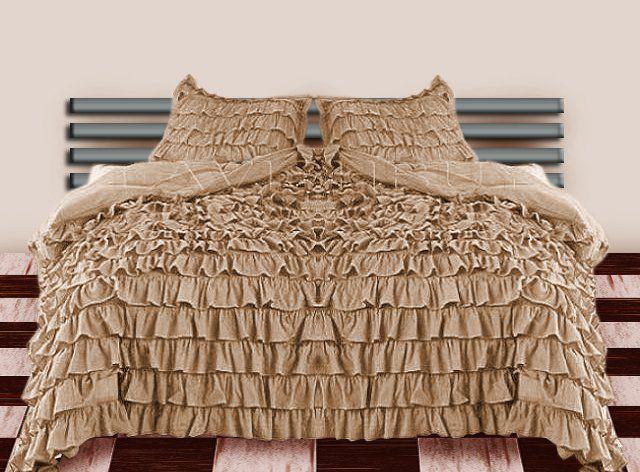1000tc Waterfall Solid Ruffled Taupe 3pcs Duvet Cover Set Full Queen 100 Egyptian Cotton Ruffle Duvet Cover Ruffle Duvet Duvet Sets