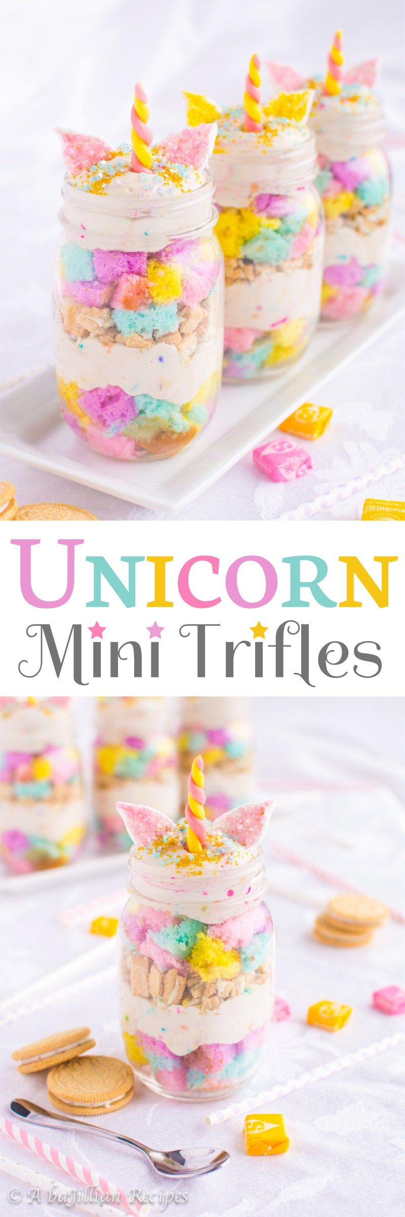 Unicorn Mini Trifles Fluffy cubes of colorful cake