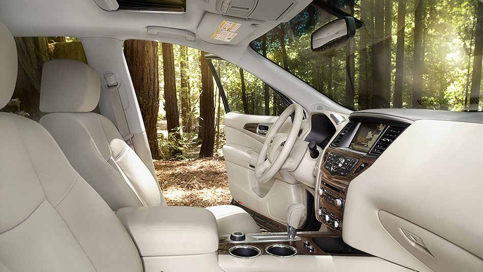 Nissan Pathfinder® Platinum shown in Almond Leather with