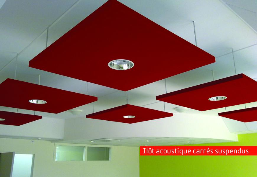 Faux plafonds ilot acoustique carr suspendu bureaux - Faux plafond suspendu lumineux ...