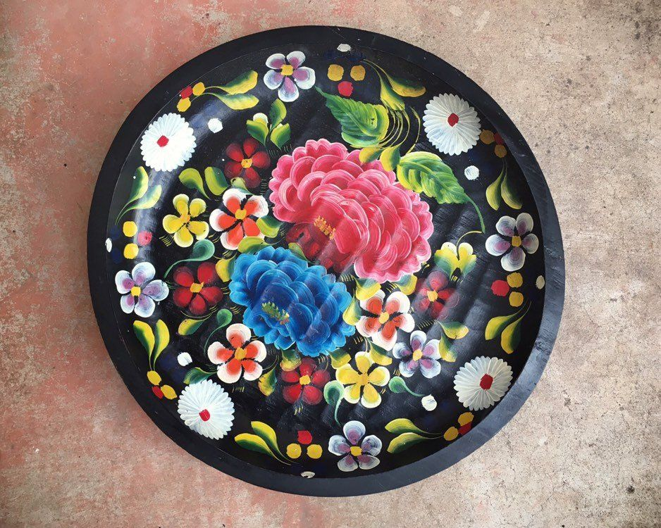 Large 17 Mexican Batea Hand Painted And Carved Wood Tray Decorative Plate Southwestern Decor Housew Southwestern Decorating House Warming Gifts Hand Painted