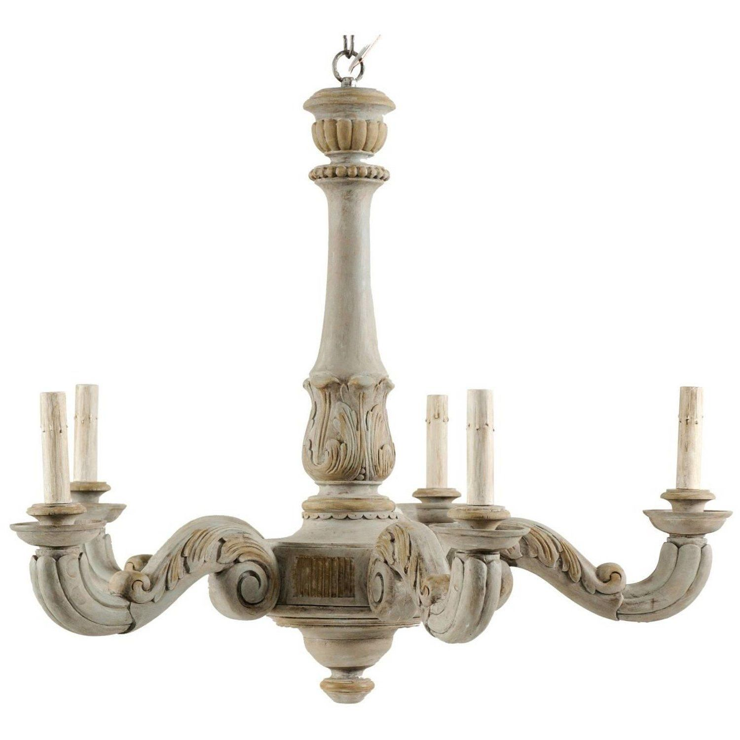 French Vintage Carved And Painted Wood Chandelier With Acanthus Leaf Motifs