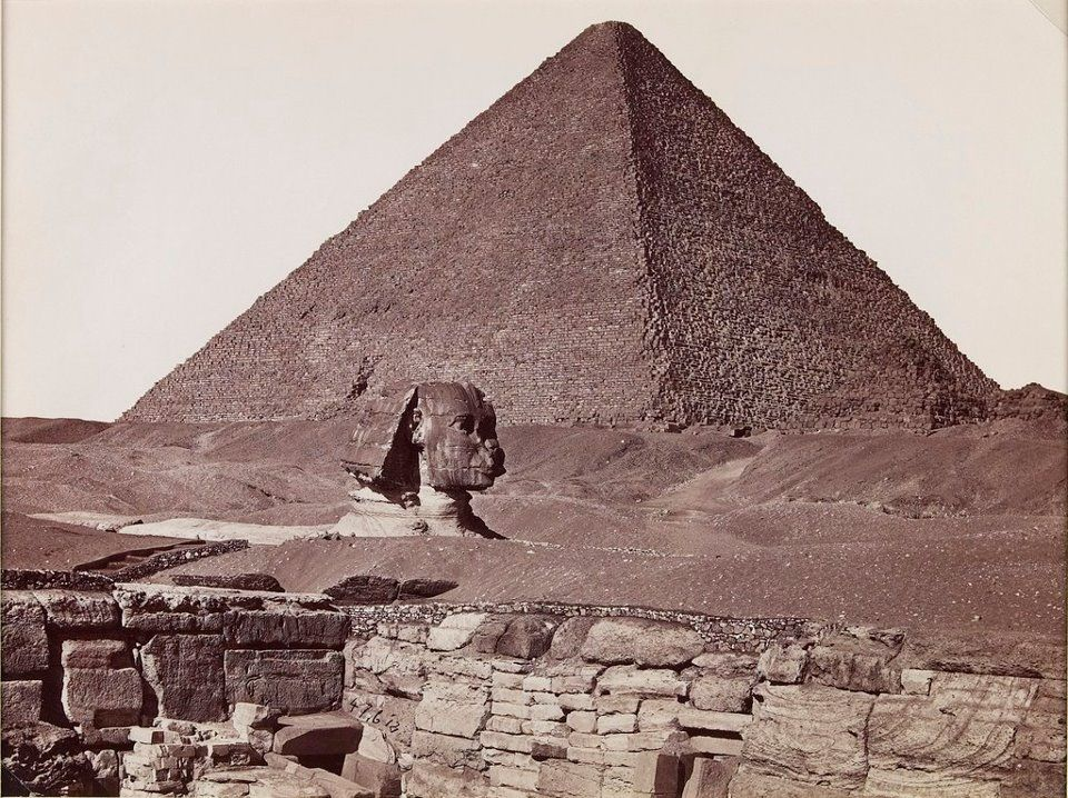 This photo of a sand-swamped Sphinx was taken around 1882 by Turkish photographer J. Pascal Sebah