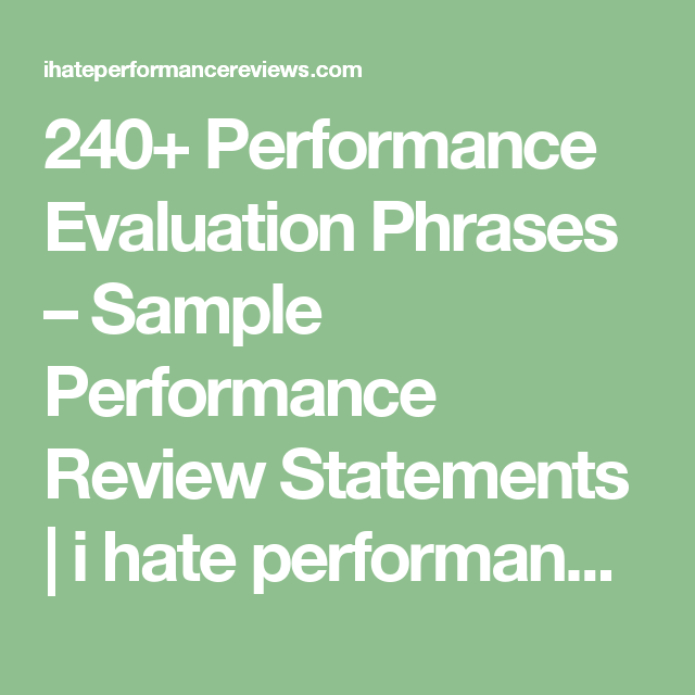 240 performance evaluation phrases sample performance review