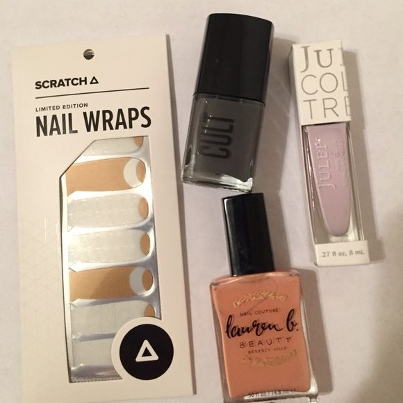 Brand New Nail Polish Bundle Scratch Nail Wraps $12, Cult Cosmetics in Boneyards $12, Lauren B Polish in Sunset Tower $18, Julep Polish in LuLu $14 Julep Other