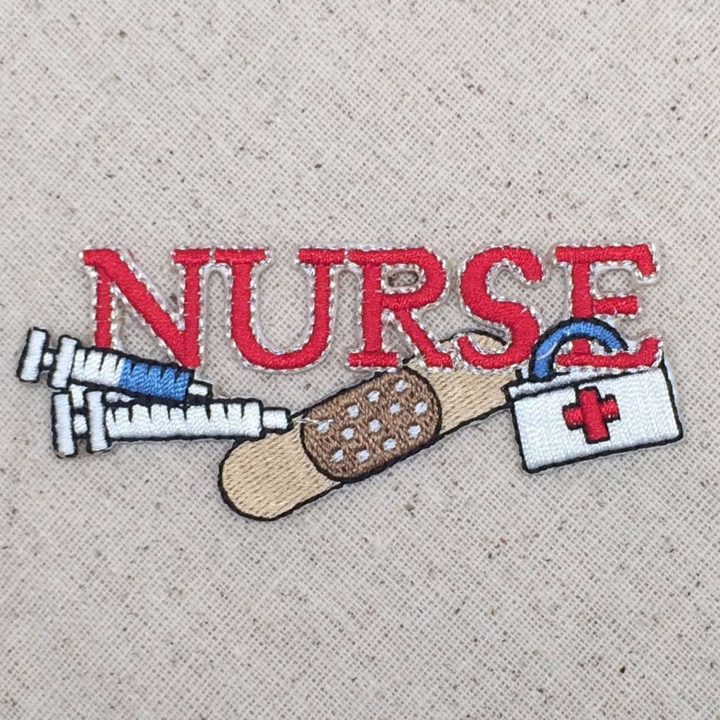 "/""NURSE/"" HEARTS  Iron On Embroidered Patch Profession Medical"