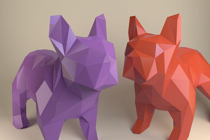Französische Bulldogge, Papierhund, Papercraft-Bulldogge, Papiertiere, Papiersp…