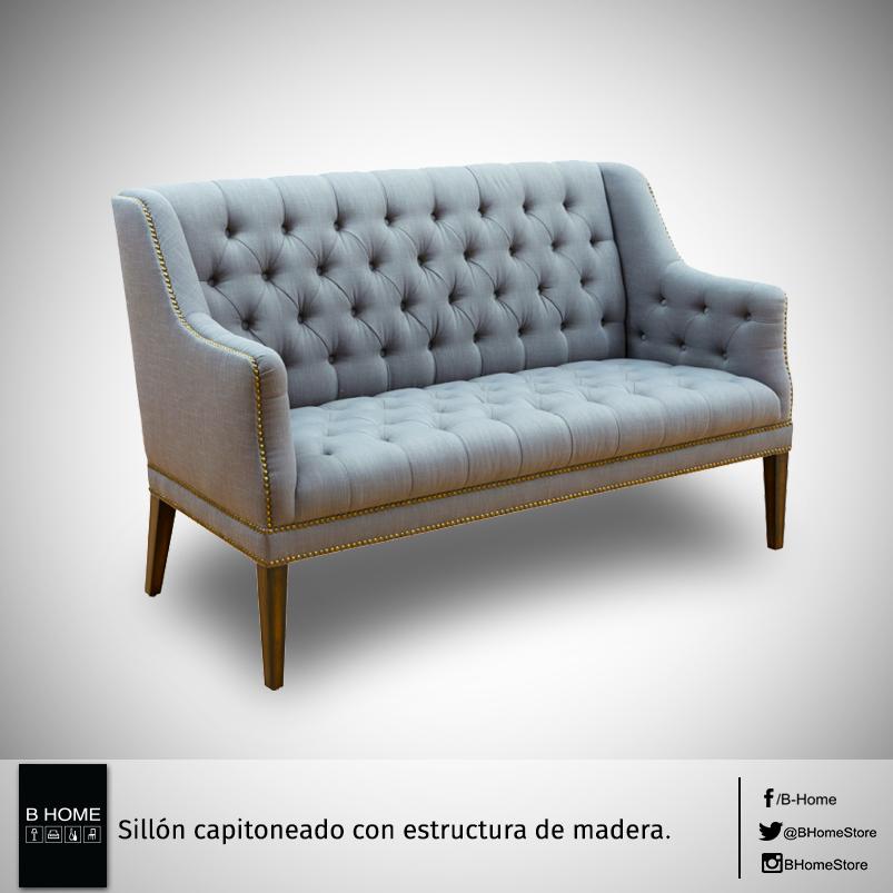 Sillón capitoneado con estructura de madera. | Muebles | Pinterest ...