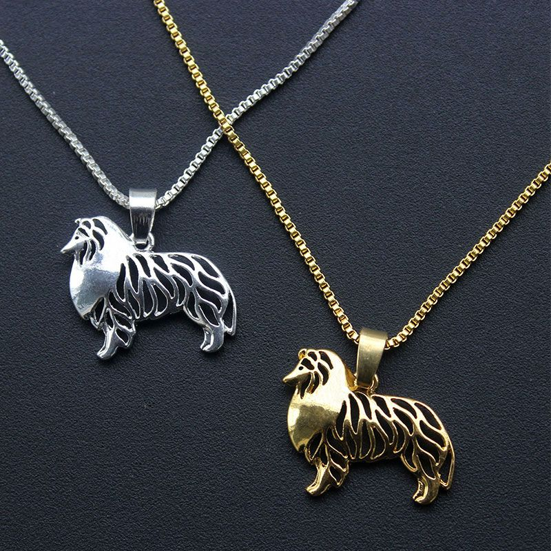 Standing Shetland Sheepdog Pendant Gold Animal Necklaces Dog Charms