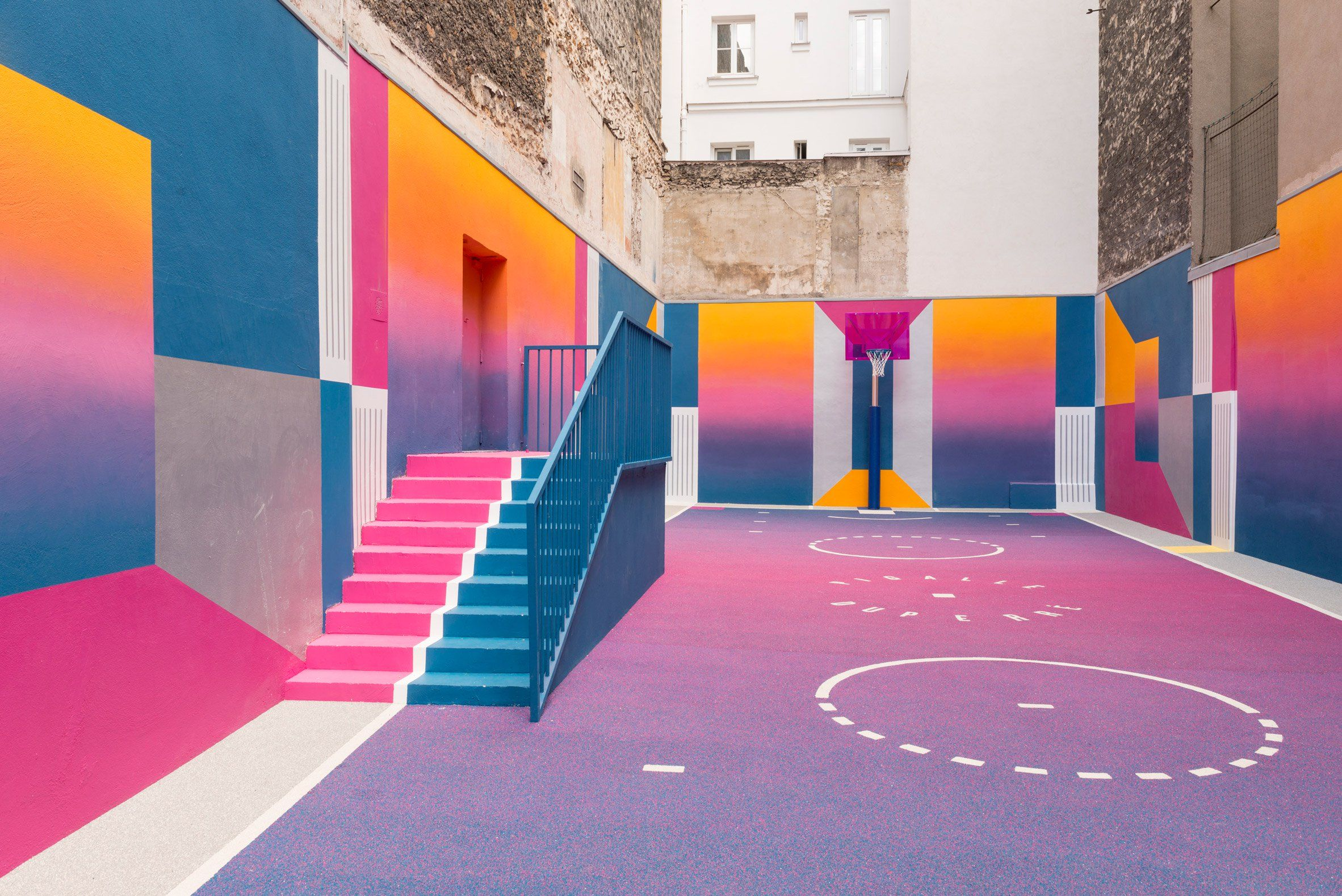 finalizando ozono Fascinante  Colourful Paris basketball court, Paris, by Pigalle Duperré | Pigalle  basketball, Floor graphics, Colour architecture