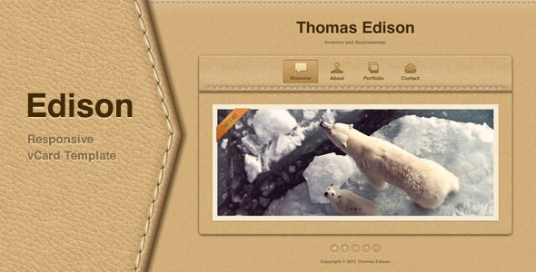 Edison - Responsive vCard Template Template, Personal portfolio - personal resume website template