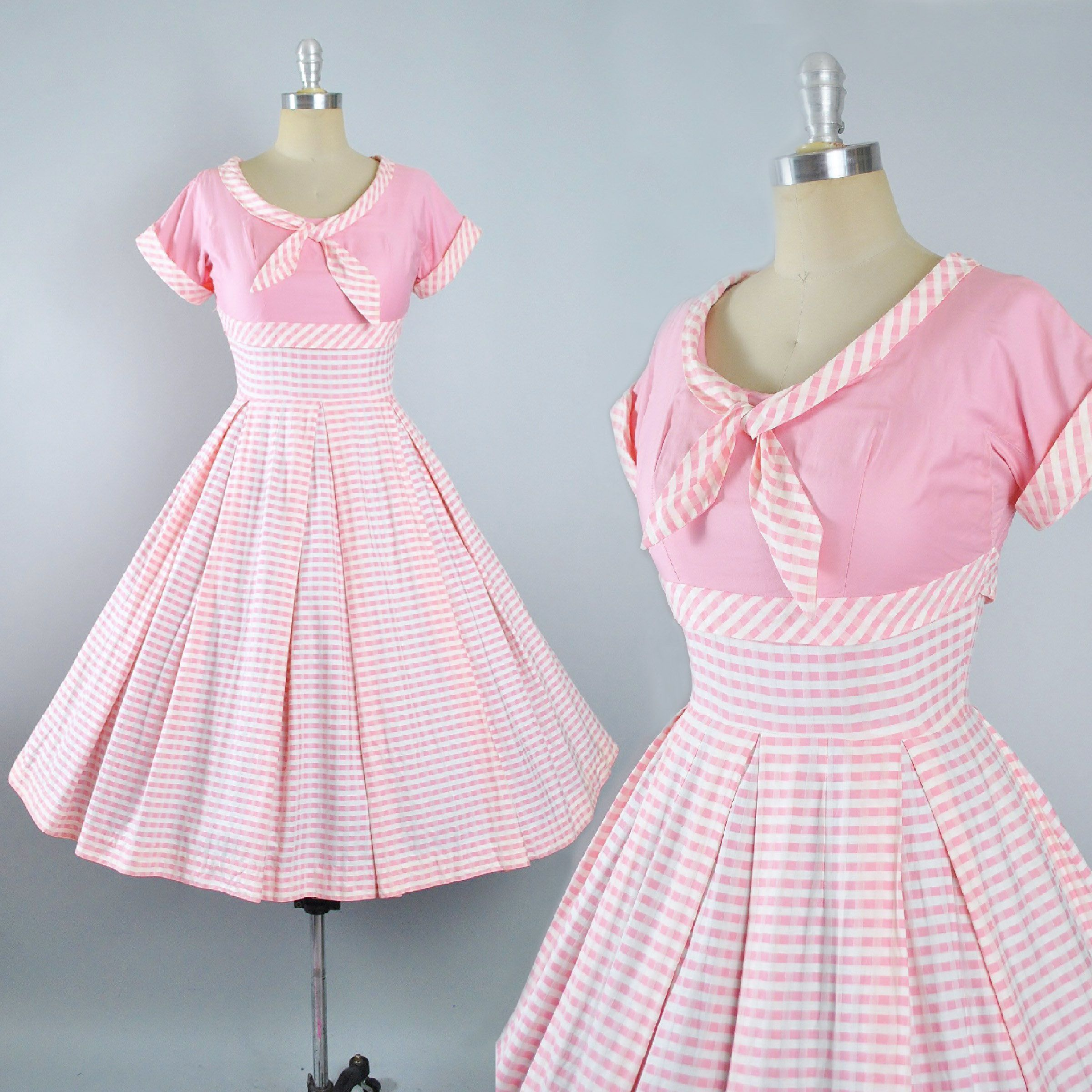 Vintage 50s Dress / 1950s Cotton Sundress White PINK STRIPES Full ...