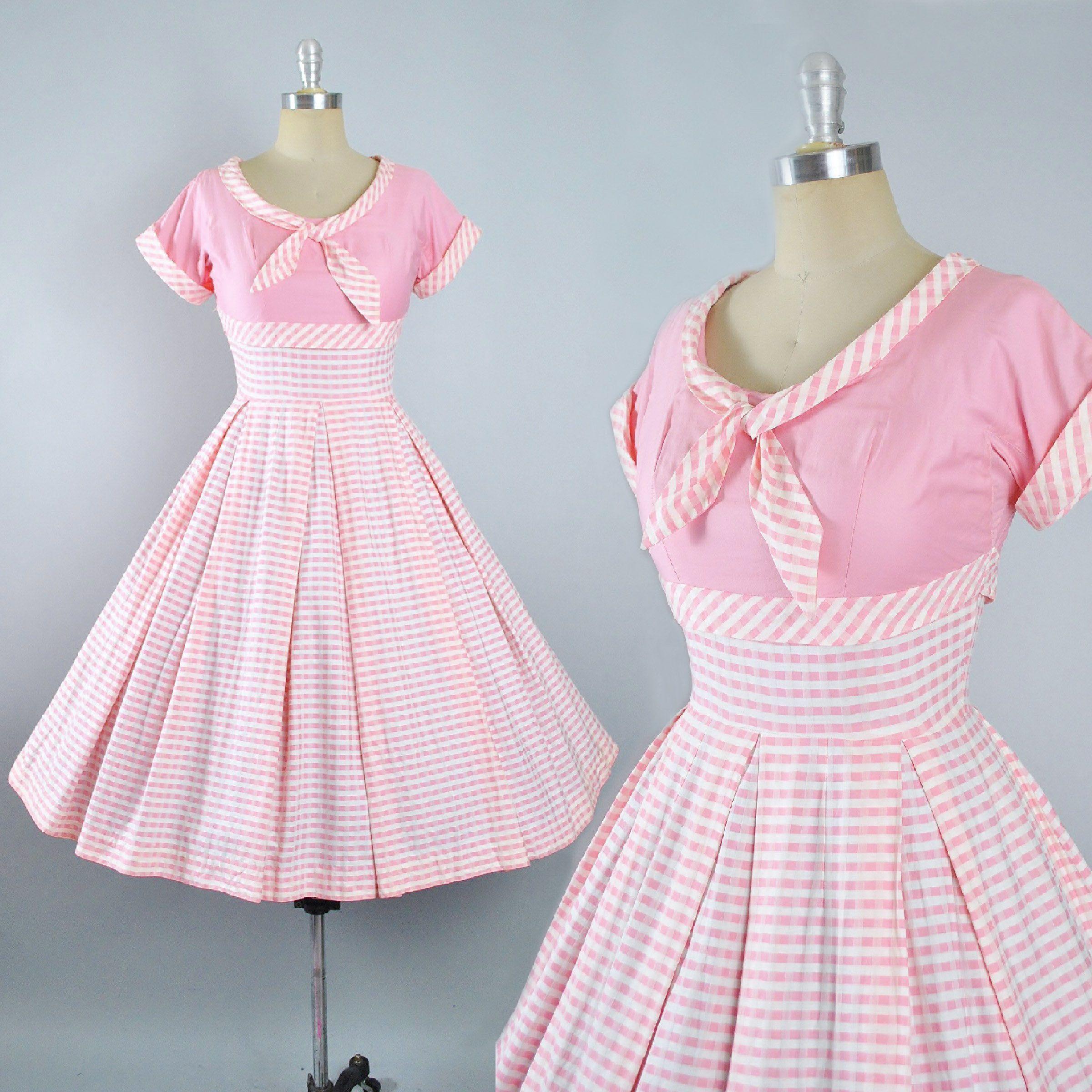 Vintage 50s Dress / 1950s Cotton Sundress White PINK STRIPES Full ...