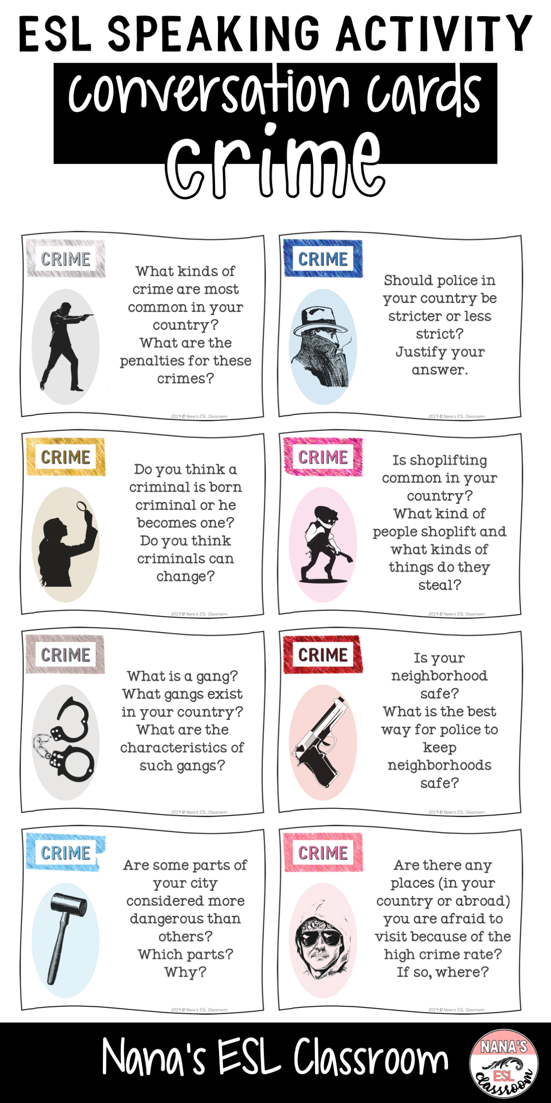 Esl Speaking Activity About Crime