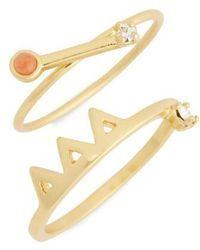 0404c4e69 Madewell | Pink Jade Ring Set | Lyst | Jewelry | Jade ring, Pink ...