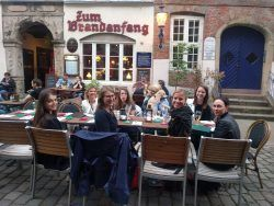 Ladies networking at a Global Gal event at the historic restaurant, Zum Brandenfang in Hamburg, Germany.
