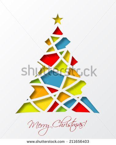 Christmas Card Template With Colored Christmas Tree And Star Vector Illustration Christmas Card Template Christmas Cards Xmas Crafts