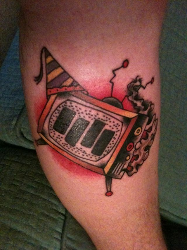 Tv Party Black Flag Tattoo Flash Art Band Tattoo Leg Tattoos