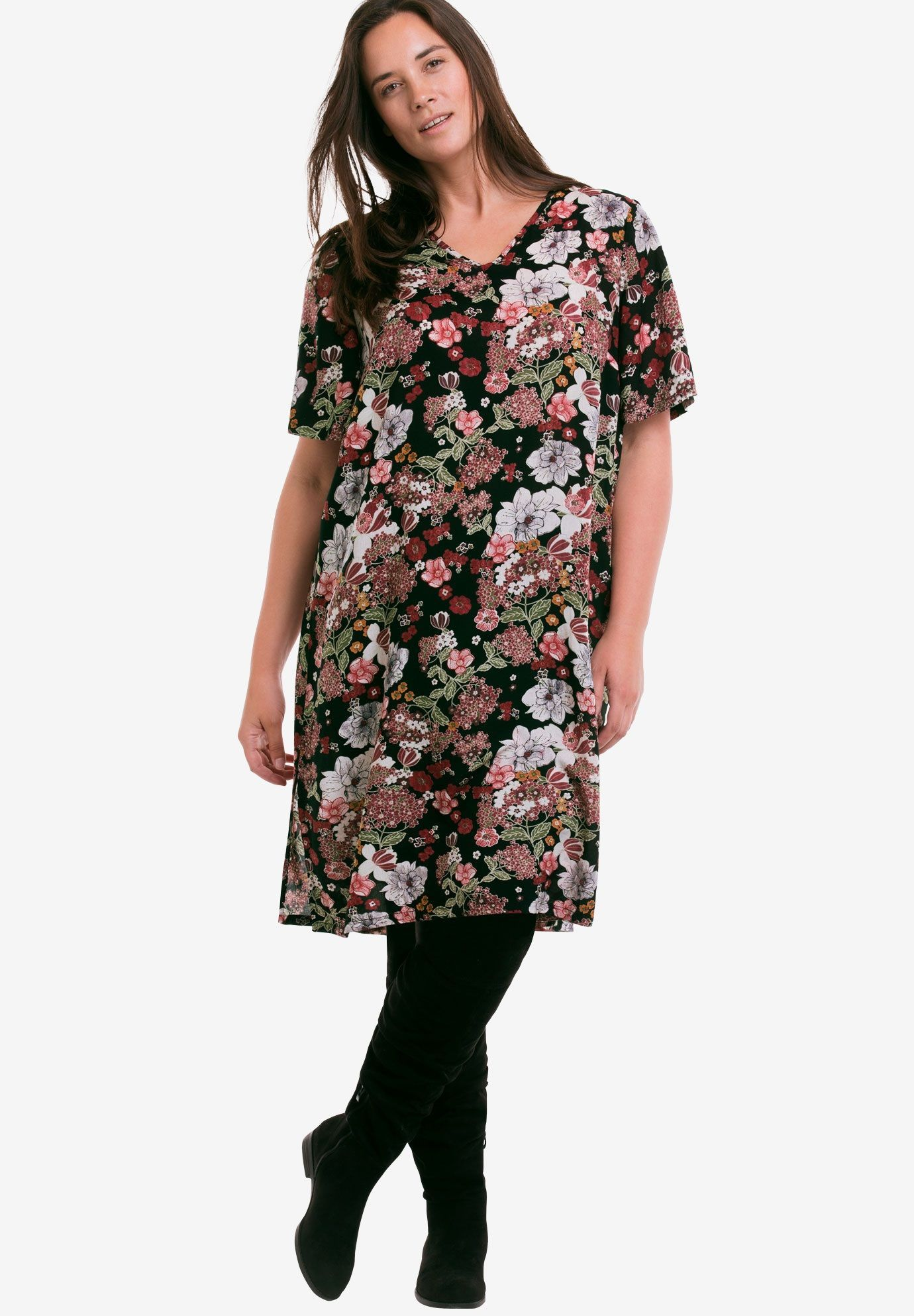 printed aline dressellos  women's plus size clothing