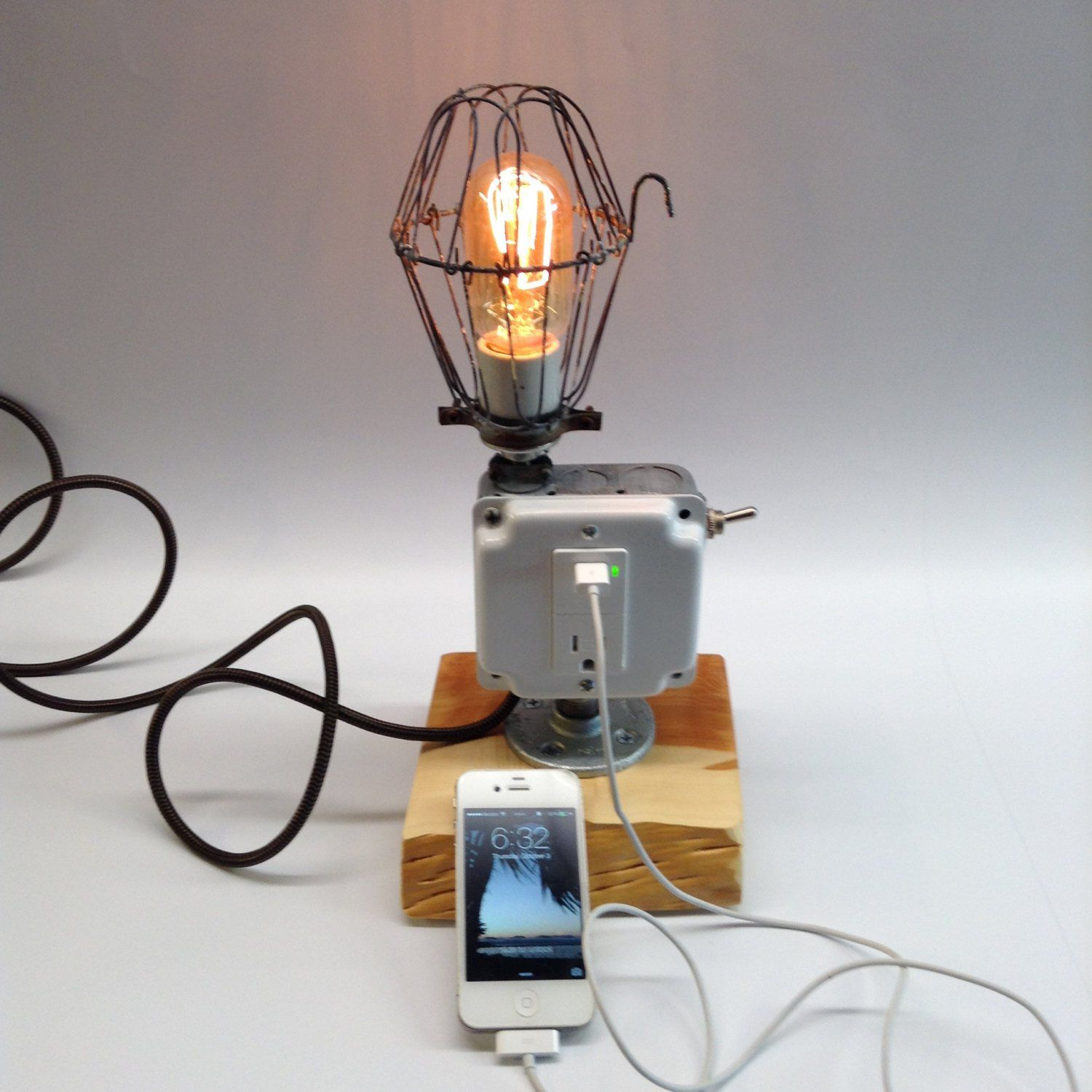 junction box lamp with usb home made lamps pinterest junction box lamp with usb