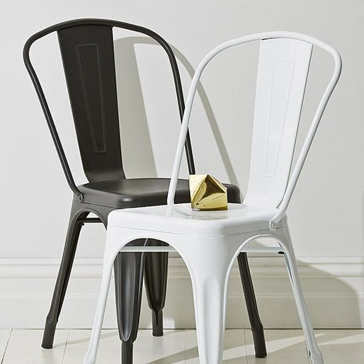 Kitchen Table And Chairs At Kmart: Black And White Metal Dining Chairs For Industrial Feel