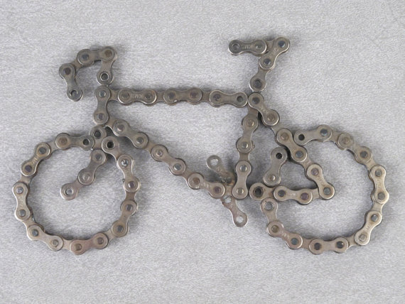 Bicycle Made From Recycled Bike Chain You Know You Want One Etsy In 2020 Bike Chain Bicycle Chains Recycled Bike Parts
