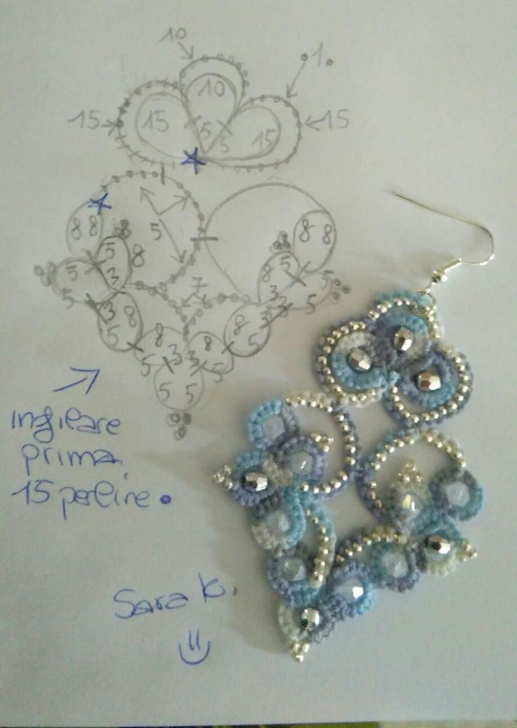 Blue Beaded Tatting Earring