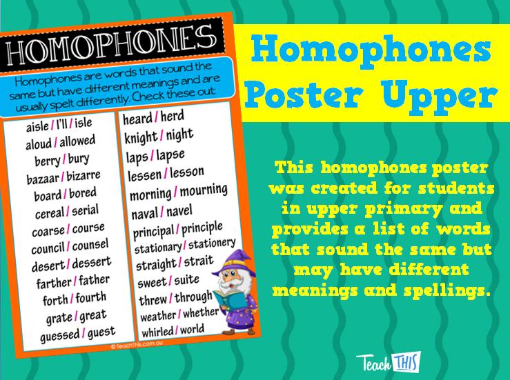 Homophones Poster Upper | English | Pinterest | Homeschool, Teacher ...
