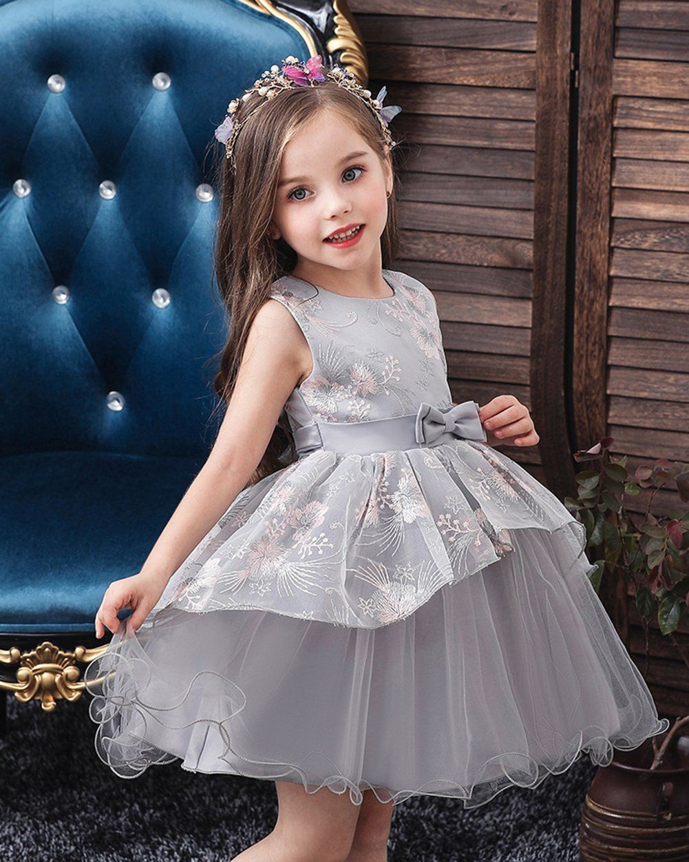 Girls sleeveless embroidered bow tie dress party wedding