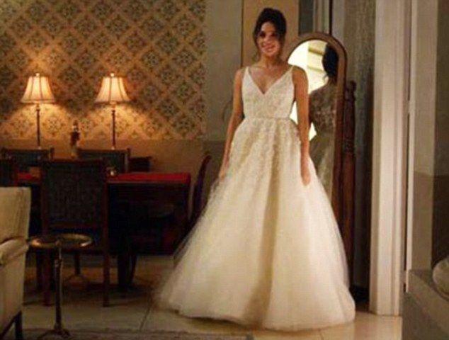 Blushing Bride Actress Meghan Markle Wears A Wedding Dress In Scene From US Drama