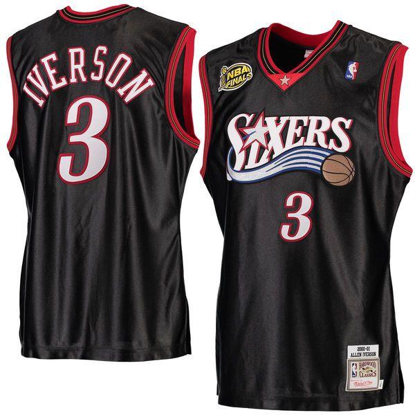 new arrival 05efe 820c4 Men's Philadelphia 76ers Allen Iverson Mitchell & Ness Black ...