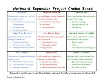 Westward expansion project choice board multiple intelligences and students fandeluxe Gallery