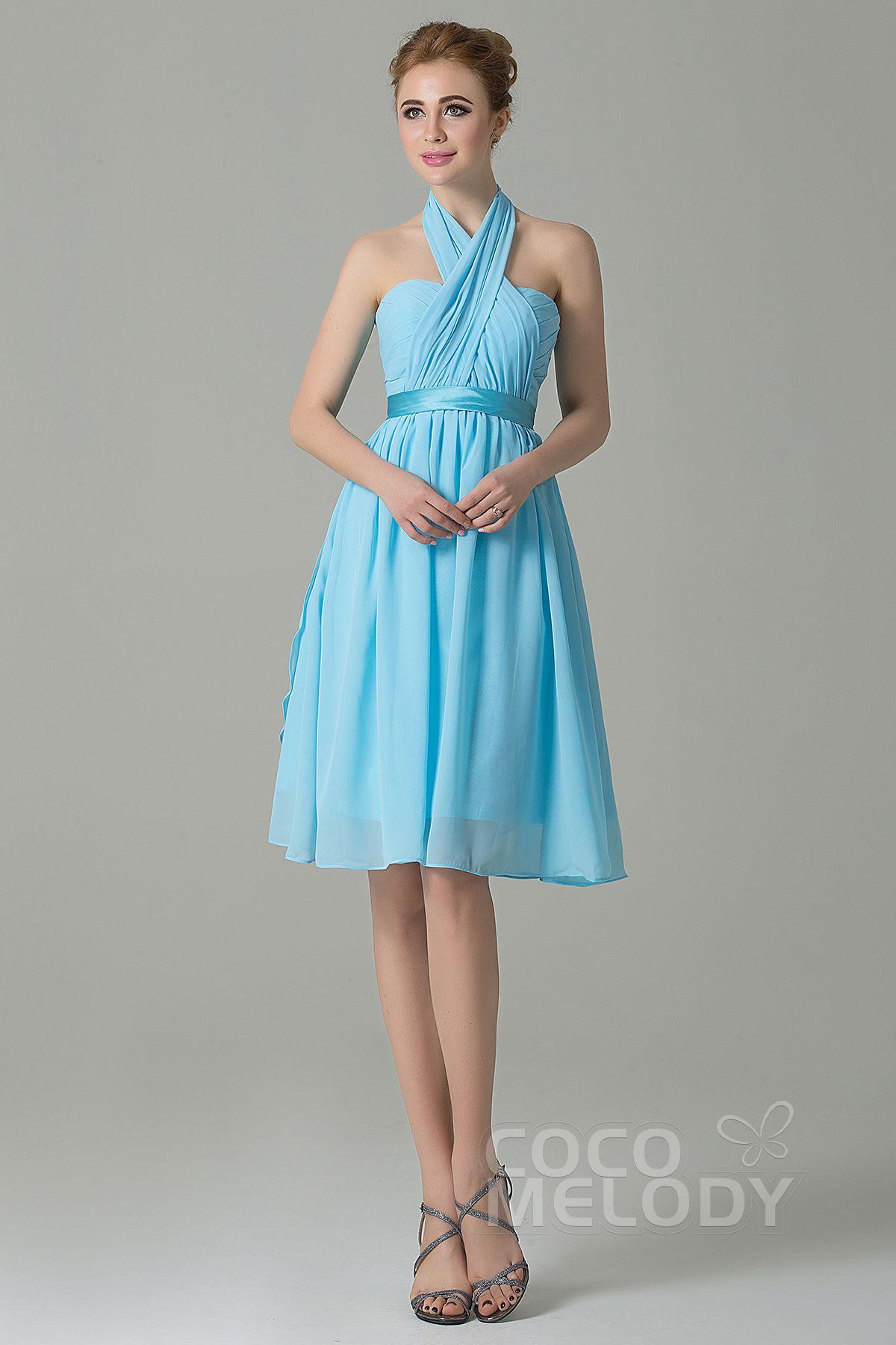 Classic aline knee length chiffon convertible bridesmaid dress with