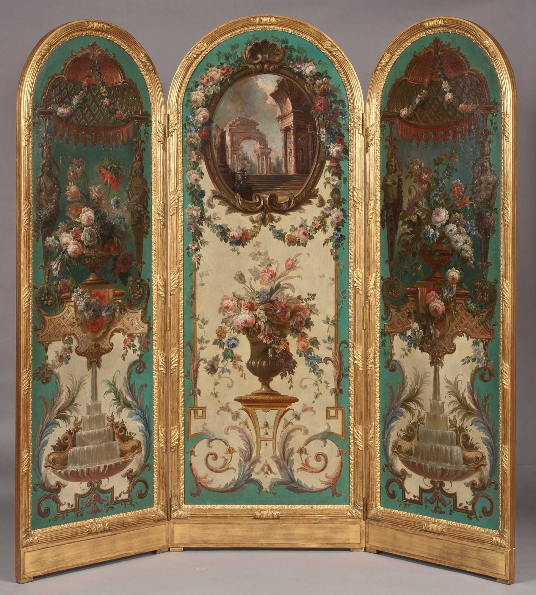 a highly decorative screen in the classic manner french kissed