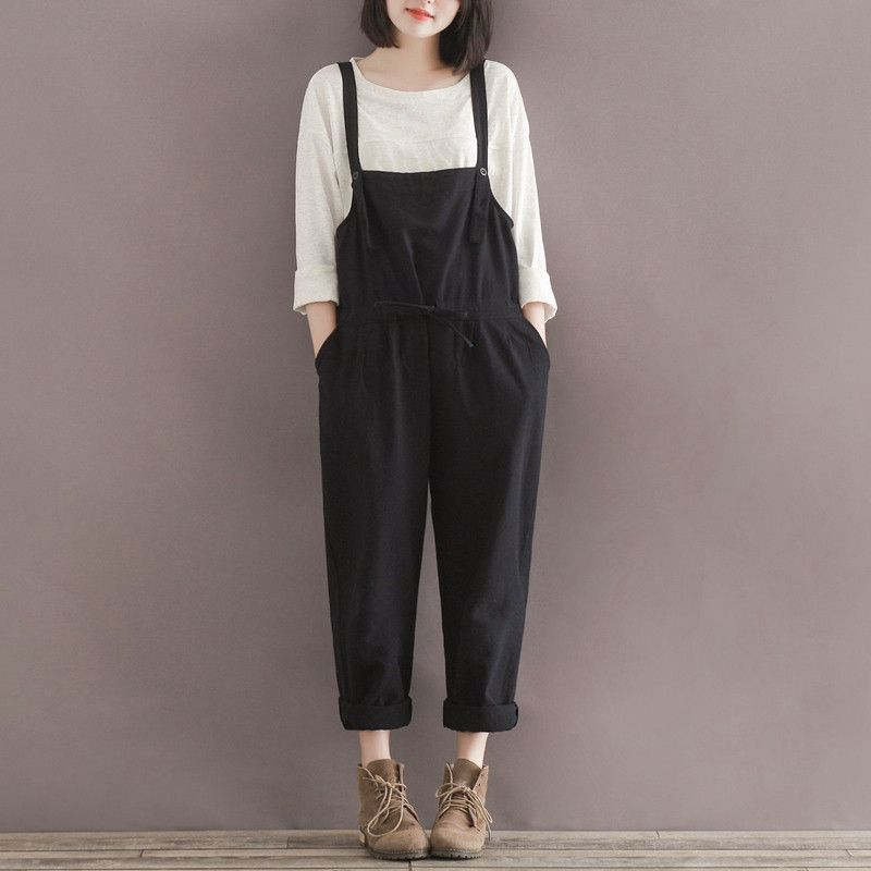 642cdc64b46 Woman Overalls Harembroek Black Cotton Plus Size Pants Casual Loose  Trousers Women Summer Pants Wide Leg Pants