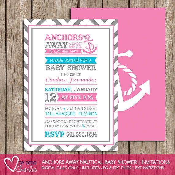 anchors away girl nautical baby shower invitations