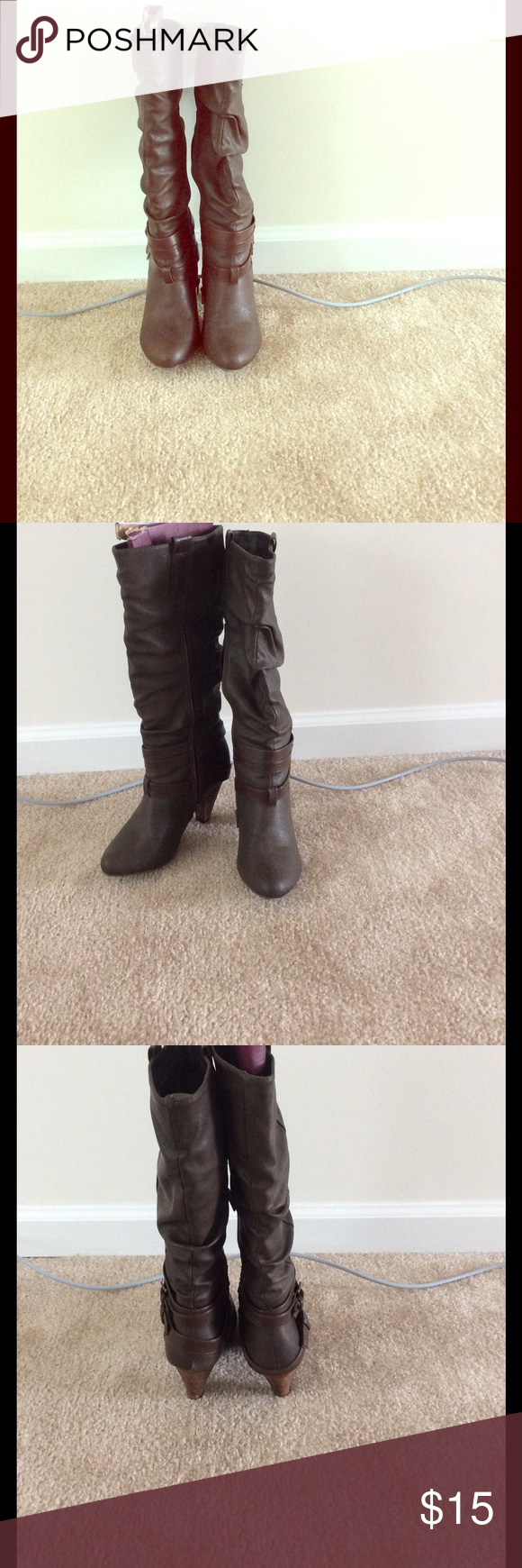 Heel boots In good condition, 3inch heel. Very comfortable! Charlotte Russe Shoes Heeled Boots
