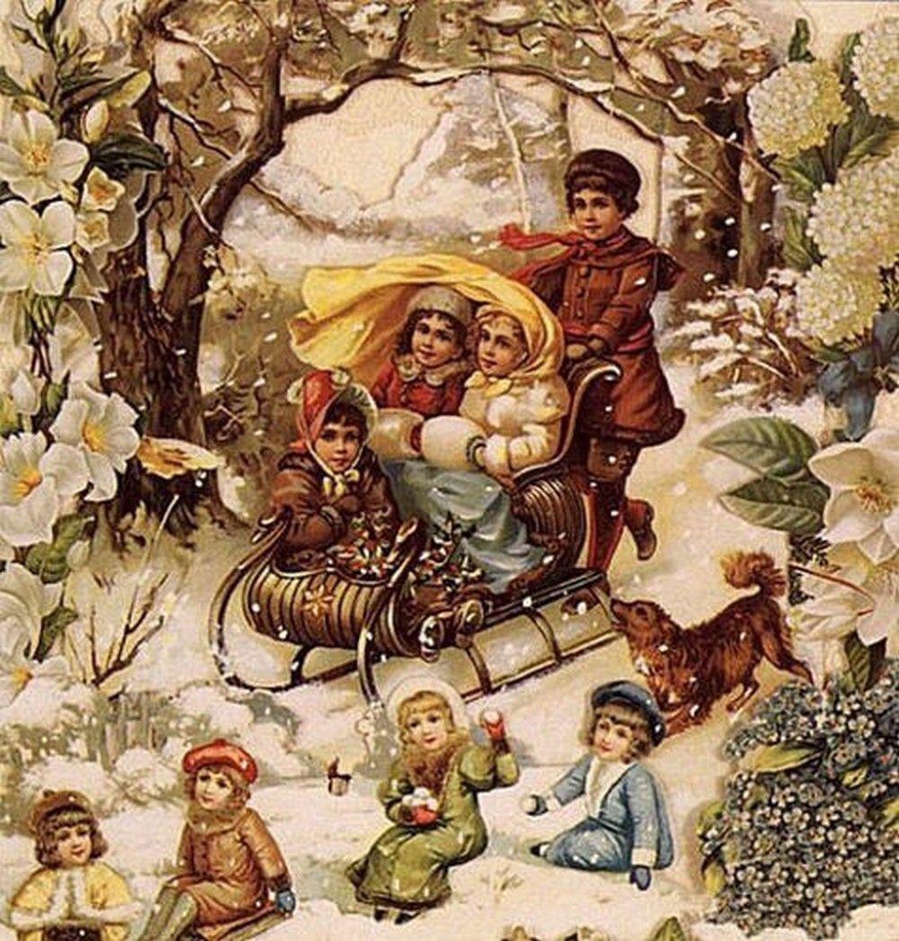 Картинки новый год и рождество ретро