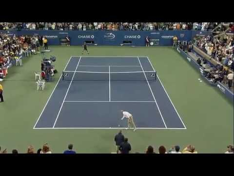 Novak Djokovic Imitates John Mcenroe Us Open 2009 Tennis Imitation My Fav Of The Lot Tennis Tennis Players Tennis Videos