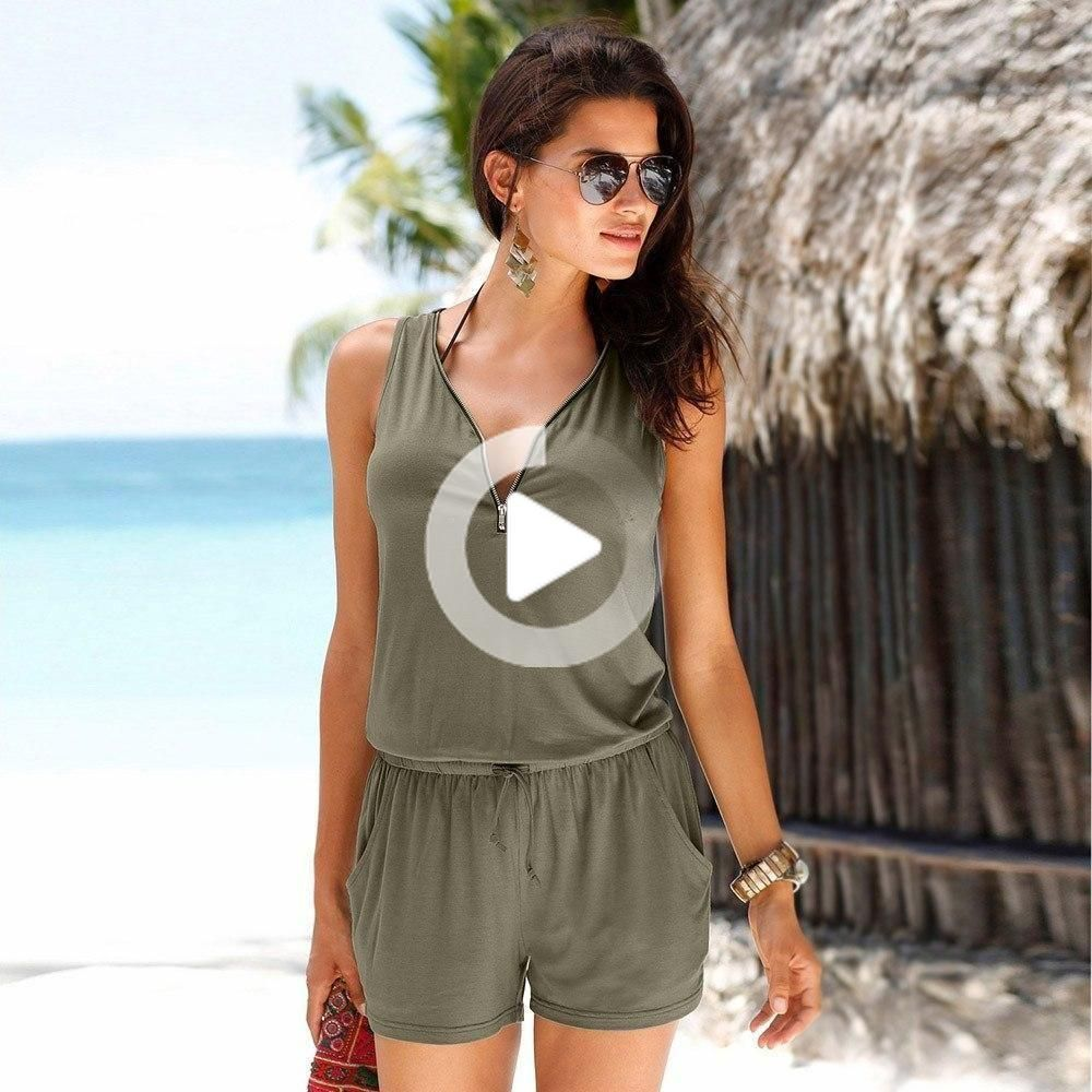 Look simply gorgeous in this zip v-neck waist tie romper - dress it up or keep it casual! Features p...