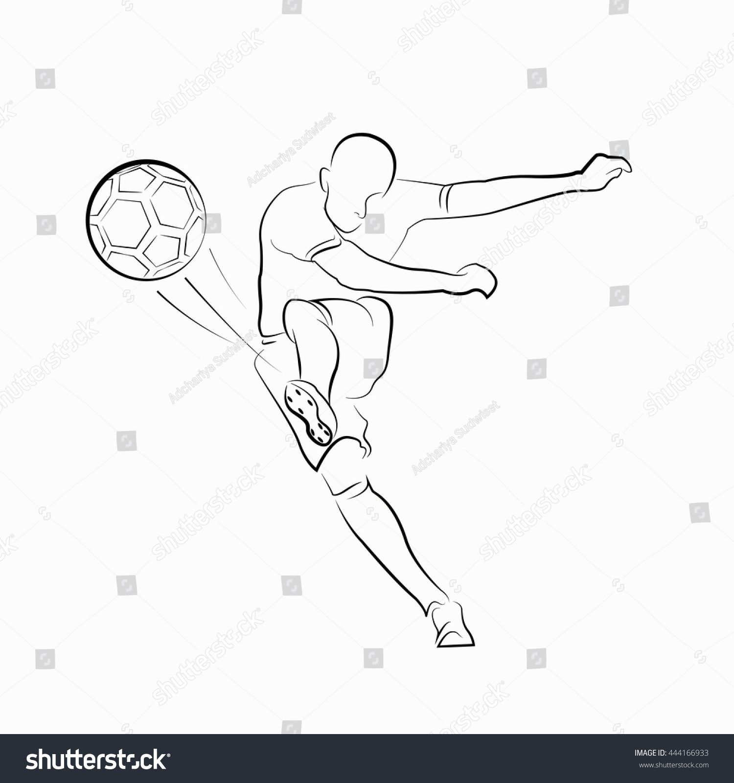 Football Soccer Player Kicking With Ball Line Drawings On White Background Football Player Drawing Football Drawing Soccer Drawing