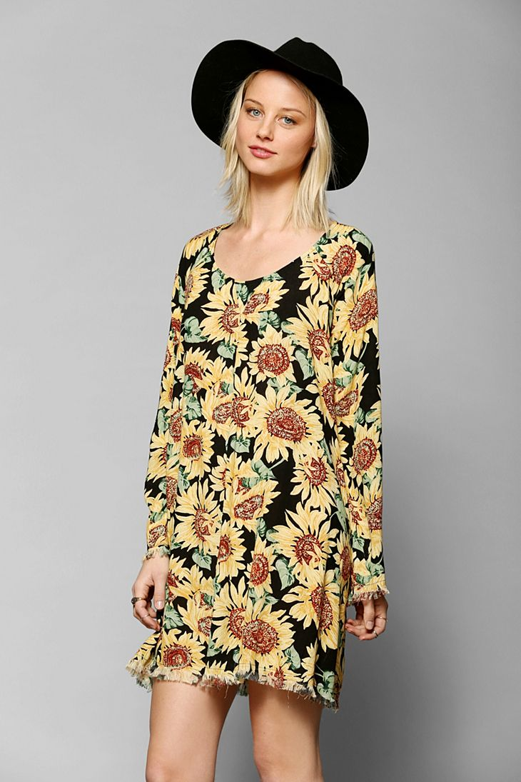 cb35abfef040 Somedays Lovin Sunflower Long-Sleeve Dress - Urban Outfitters ...