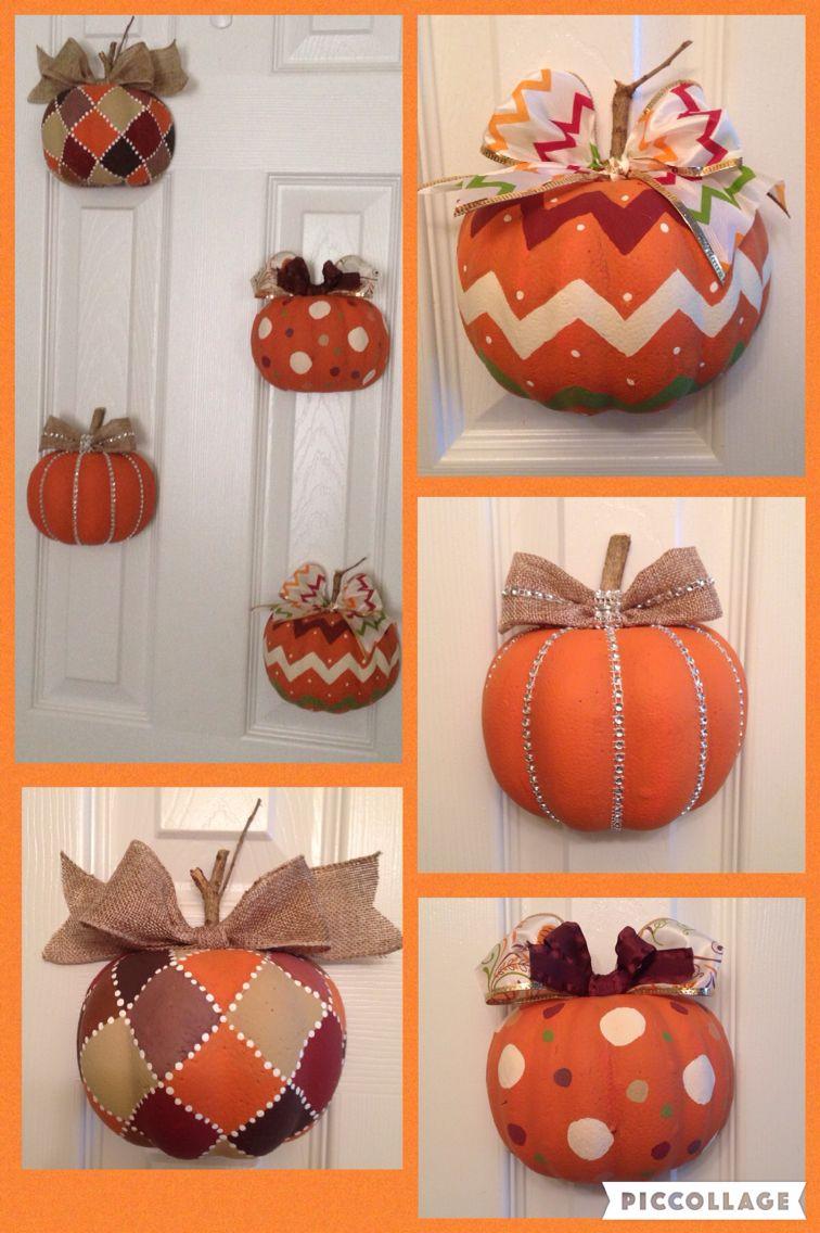 Door hanger fall front door decoration pumpkin door decoration - Made Pumpkin Door Display Using Dollar Tree Pumpkins More