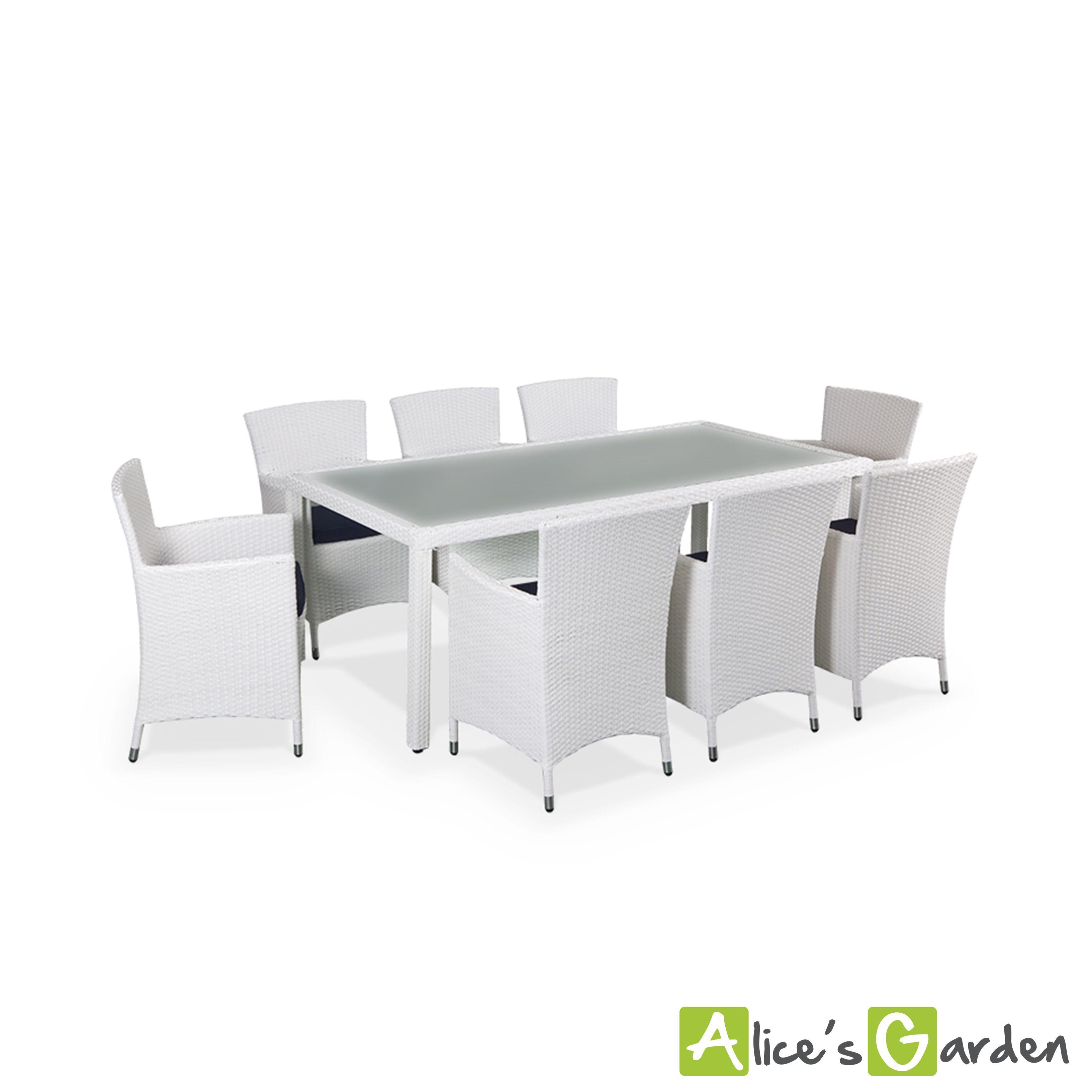 Capri table de jardin en résine tressée 8 places Coloris blanc